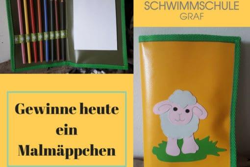 Malbuch, Stifte, Zettel, Verlosung der Schwimmschule Graf