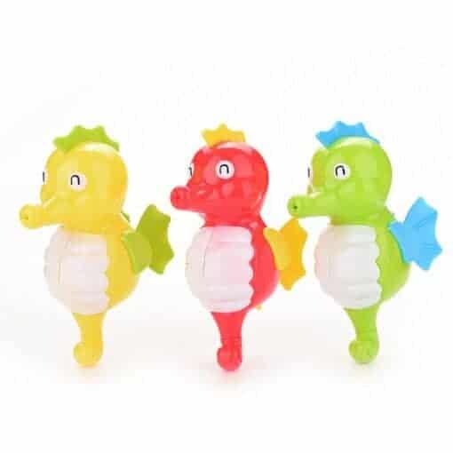 Seepferdchen für in die Badewanne in Gelb, Rot und Grün
