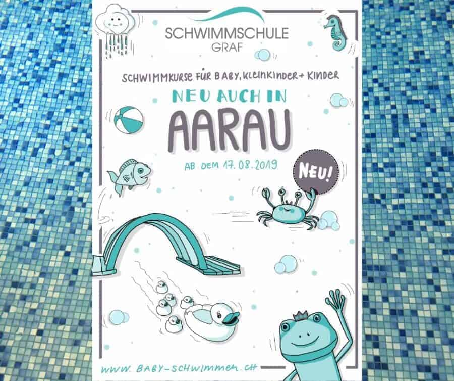 Plakatwerbung Schwimmschule Graf in Aarau