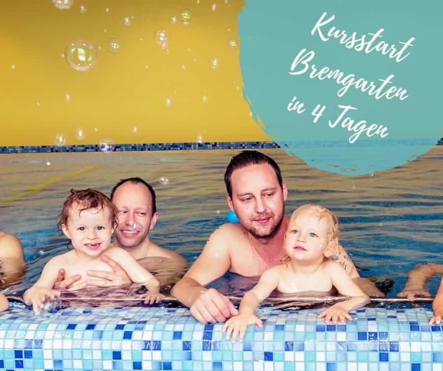 Papis mit Kinde beim Kinderschwimmen der Schwimmschule Graf in Bremgarten