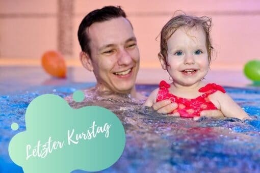 Papi mit Tochter im Wasser, Schwimmschule Graf